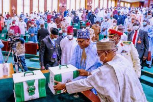 President Buhari laying the 2021 budget proposals before the national assembly