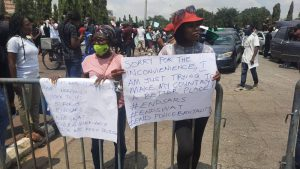 #EndSARS protesters at the gate of the national assembly